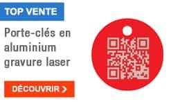 TOP VENTE - Porte-clés en aluminium gravure laser