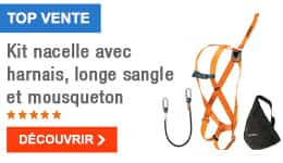 TOP VENTE - Kit nacelle avec harnais, longe sangle et mousqueton