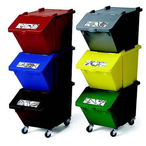 Stackable, colour-coded recycling bins