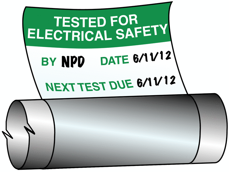 Electrical Safety Write-On Cable Markers - TESTED BY / DATE / NEXT