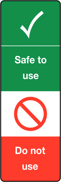 Polyester Safety Message Tags – Safe To Use/Do Not Use