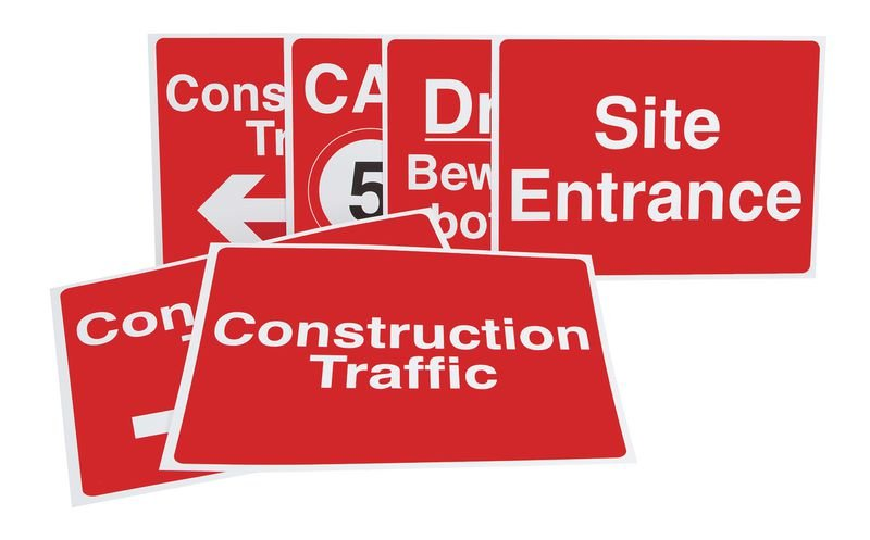 Construction site vehicle sign starter pack