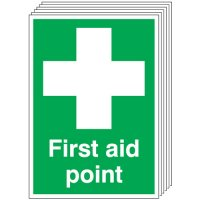 First Aid Point Signs - 6 Pack