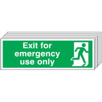Exit For Emergency Use Only Signs - 6 Pack