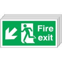 Fire Exit (Arrow Diagonal Down & Left) 6 Pack Signs