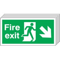 Fire Exit (Arrow Diagonal Down & Right) 6 Pack Signs