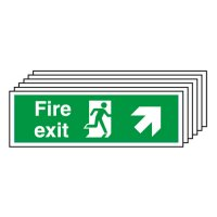 Fire Exit (Arrow Diagonal Up & Right) 6 Pack Signs