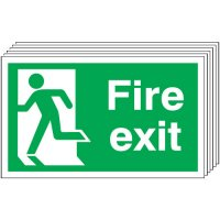 Fire Exit (Running Man Left) Signs - 6 Pack