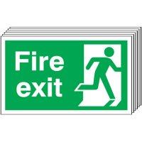 Fire Exit (Running Man Right) Signs - 6 Pack