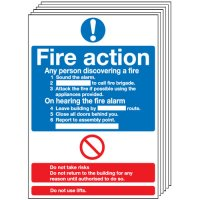 6 Pack of Fire Action Notice Signs