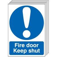 Fire Door Keep Shut Signs - 6 Pack