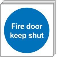 Fire Door Keep Shut Signs (No Symbol) - 6 Pack