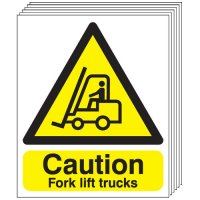 Caution Fork Lift Trucks Signs - 6 Pack