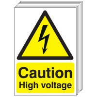 Caution High Voltage Signs - 6 Pack