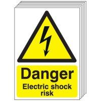 Danger Electric Shock Risk Signs - 6 Pack