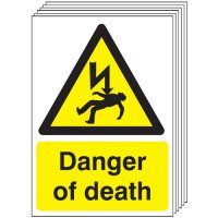 Danger Of Death Signs - 6 Pack