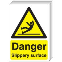 Danger Slippery Surface Signs - 6 Pack