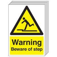Warning Beware Of Step Signs - 6 Pack