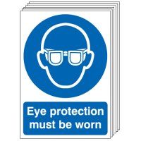 Eye Protection Must Be Worn Signs - 6 Pack