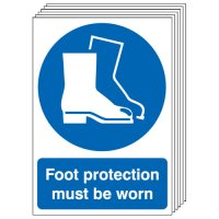 Foot Protection Must Be Worn Signs - 6 Pack