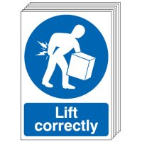 Lift Correctly Signs - 6 Pack