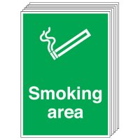 Smoking Area Signs - 6 Pack