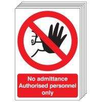 No Admittance Authorised Personnel Only 6 Pack Signs