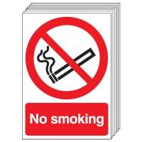 No Smoking Signs - 6 Pack