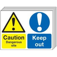 Caution Dangerous Site... 6 Pack Multi-Message Signs