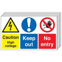 Caution High Voltage... 6 Pack Multi-Message Signs