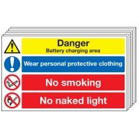 Danger Battery Charging Area... 6 Pack Multi-Message Signs