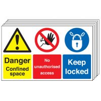 Danger Confined Space... 6 Pack Multi-Message Signs