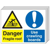 Danger Fragile Roof... 6 Pack Multi-Message Signs