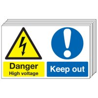 Danger High Voltage, Keep Out 6 Pack Multi-Message Signs