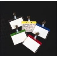 Colour-coded clip-on security visitor badge holders