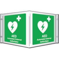 Pre-Drilled PVC 3D Projecting AED Defibrillator Sign