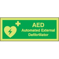 AED photoluminescent health & safety signs