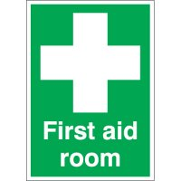 First Aid Room Sign with Large Symbol in Various High-Quality Materials