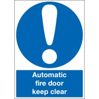 Self-adhesive automatic fire door keep clear signs