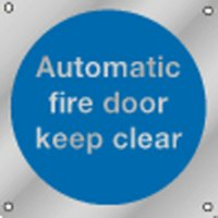 Automatic Fire Door Keep Clear Premium Aluminium & Brass Signs