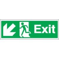 Exit (Arrow Diagonal Left & Down) Signs