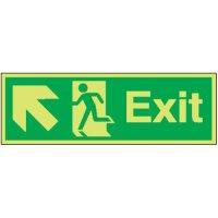 Exit (Arrow Diagonal Left & Up) Photoluminescent Signs