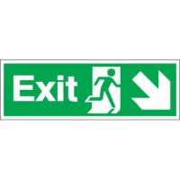 Exit (Arrow Diagonal Right & Down) Signs