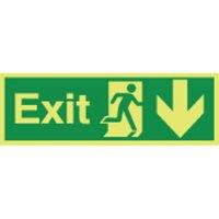 Exit (Arrow Down) Photoluminescent Signs