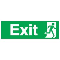 Durable Green 'Exit' Signs Featuring Running Man Facing Right Symbol