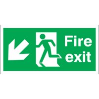 Fire exit signs - diagonal down and left arrow