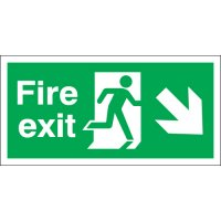 Essential Fire Exit Signs With Diagonal Right Pointing Arrow
