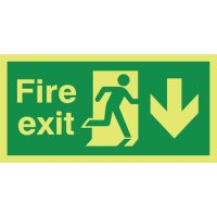 Fire Exit (Arrow Down) Photoluminescent Signs