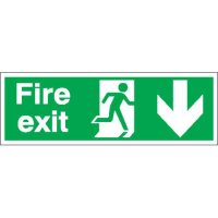 Fire Exit (Arrow Down) Double-Sided Hanging Signs