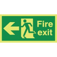 Fire Exit (Arrow Left) Photoluminescent Signs